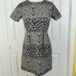 H&M embroidered fit and flare pocket dress
